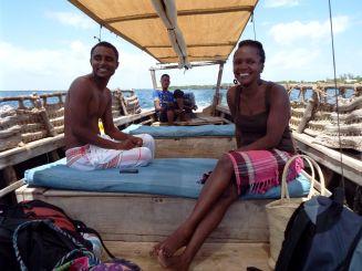 Nyambura im Boot-Taxi