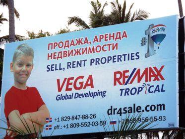 Werbung auf Russisch und Englisch