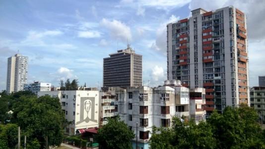 """Blick vom Hoteldach, in dem uns eine zusätzliche Nacht in Havanna """"geschenkt"""" wurde"""