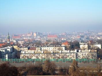 Smogverhangener Blick zum Stadtzentrum