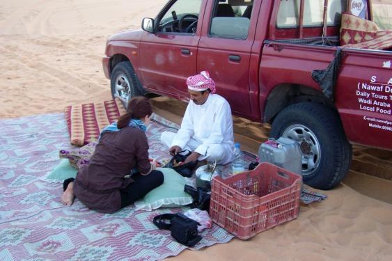 Abendessen und Übernachtung in der Wüste