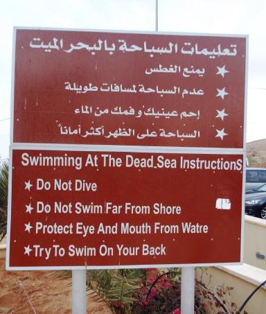 Badeinstruktionen für das Tote Meer